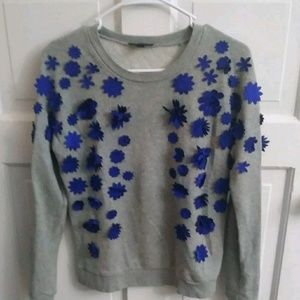 J. Crew Pull Over Sweater, Blue Applique Size XXL